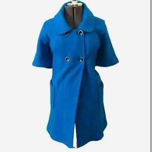 LIVE A LITTLE BLUE WOOL SHORT SLEEVE COAT SZ XL